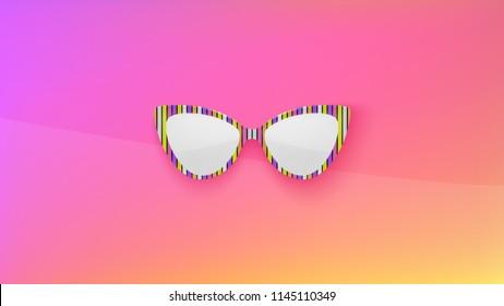 Sunglasses wallpaper. Trendy colors. Fashion background. Summer. Holographic. Rim. Eyeglasses. Party. Poster backdrop. Sunglasses. Tropical. Cat eye rim style. Retro.