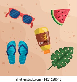 sunglasses with watermelon fruit and suncream with flip-flop