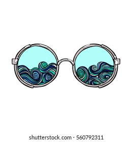 Sunglasses. Waves. Isolated vector objects on white background.