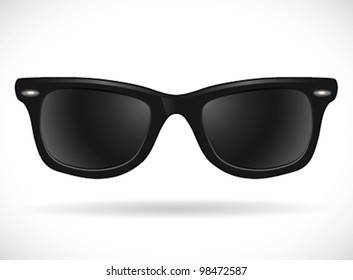 Sunglasses (wayfarer black isolated)- vector illustration Shadow and background on separate layers. Easy editing.