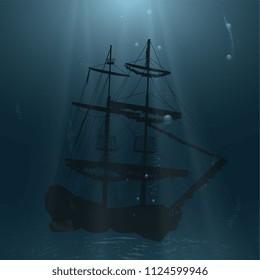 Sunken ship at the bottom of the ocean.