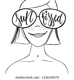 Sunkissed - hand drawn positive summer lettering phrase isolated on the white background. Fun brush ink vector quote for banners, greeting card, poster design, photo overlays