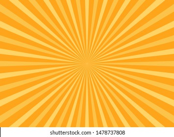 Sunlight abstract background. Bright yellow color burst background. Vector illustration. Sun beam ray sunburst pattern background. Retro bright backdrop. starburst wallpaper