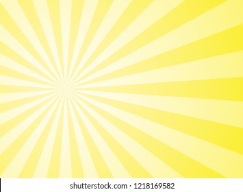 Sunlight abstract wide background. Yellow and white color burst horizontal background. Vector illustration. Sun beam ray sunburst pattern background. Retro bright backdrop. Sunny day.