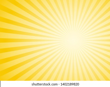 Sunlight abstract wide background. Yellow  color burst horizontal background. Vector illustration. Sun beam ray sunburst pattern background. Retro bright backdrop. Sunny day.