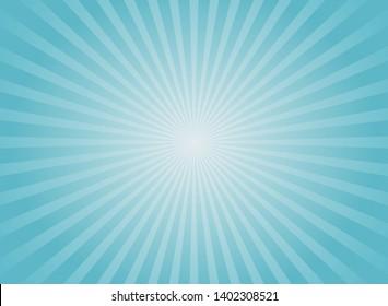 Sunlight  background. Pale blue color burst background with white highlight. Fantasy Vector illustration. Magic Sun beam ray sunburst pattern background. Retro faded backdrop.