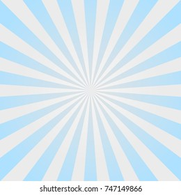Sunlight  background. Powder blue and pink color burst background with white highlight. Fantasy Vector illustration. Magic Sun beam ray sunburst pattern background. Retro faded backdrop.