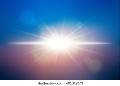 Sunlight  background. Vector lens flare effect