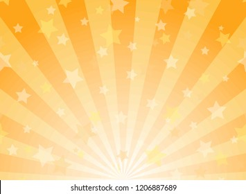 Sunlight horizontal background. Powder yellow and blue color burst background with shining stars. Vector illustration. Sun beam ray sunburst pattern backdrop. Magic, festival, circus poster