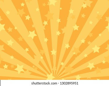 Sunlight horizontal background. Powder yellow and blue color burst background with shining stars. Vector illustration. Sun beam ray sunburst pattern backdrop. Magic, festival, circus poster
