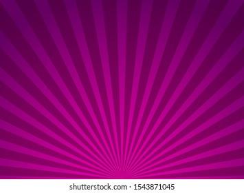 Sunlight horizontal background. Purple color burst background. Vector illustration. Sun beam ray sunburst wallpaper. Retro bright backdrop.  starburst wallpaper. Circus poster or placard