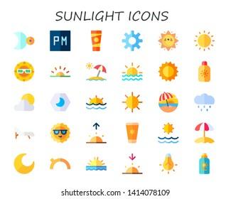 sunlight icon set. 30 flat sunlight icons.  Simple modern icons about  - moon, night, sun lotion, sun, sunrise, sun umbrella, cream, cloudy, sunset, rain, deck chair, morning