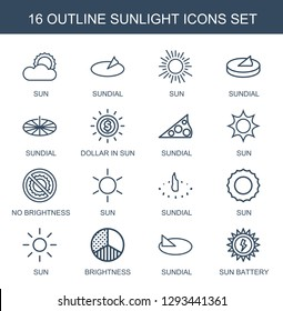 sunlight icons. Trendy 16 sunlight icons. Contain icons such as sun, sundial, dollar in sun, no brightness, brightness, sun battery. sunlight icon for web and mobile.