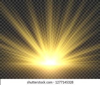 Sunlight isolated. Golden sun rays radiance. Yellow bright spotlight transparent sunshine starburst illustration