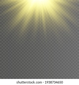 Sunlight or light effect. Sun or spotlight beams. Bright flash. Light PNG. Vector illustration for decorating. Decor element. Isolated transparent background.