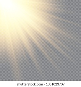 Sunlight on a transparent background. Glow light effects.Star flashed sequins. Sun glare on transparent background. the lens sparkles.Vector transparent sunlight special lens flare light effect.Vector