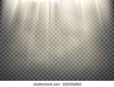 Sunlight on a transparent background. Light rays pattern. Stock vector illustration.