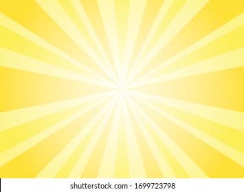 Sunlight rays horizontal background. Bright yellow color burst background. Vector illustration. Sun beam ray sunburst wallpaper. Retro bright backdrop. starburst circus  poster or placard