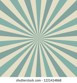 Sunlight retro faded background. Aquamarine blue and beige color burst background. Fantasy Vector illustration. Magic Sun beam ray pattern background. Old paper. Circus poster