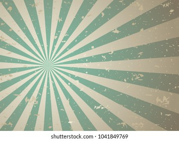 Sunlight retro faded grunge background. green and beige color burst background. Vector illustration. Sun beam ray background. Old speckled paper with particles of debris. vintage style.