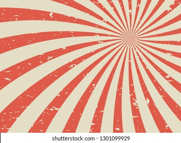 Sunlight retro faded grunge background. beige and red color burst background. Vector illustration. Sun beam ray background. Old speckled paper with particles of debris. vintage style.