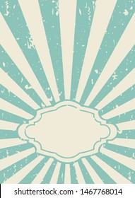Sunlight retro  grunge wallpaper with vintage frame for text. beige and blue burst background. Vector illustration. Sun beam ray poster. Old speckled paper with particles of debris. Circus placard