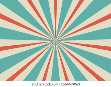 Sunlight retro horizontal background. Pale red, blue, beige color burst background. Vector illustration. Magic light, sun beam ray wallpaper. Old paper sunburst. Circus poster, placard