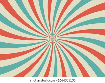 Sunlight retro horizontal background. Pale red and beige spiral rays burst background. Fantasy Vector illustration. Magic Sun beam ray pattern background. Old paper starburst. Circus poster or placard