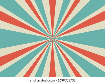Sunlight retro horizontal background. Pale red and beige color burst background. Fantasy Vector illustration. Magic Sun beam ray pattern background. Old paper starburst. Circus poster or placard
