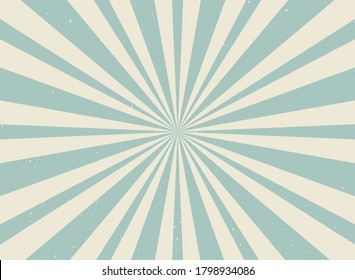 Sunlight retro horizontal background. Pale blue and beige color burst background. Fantasy Vector illustration. Magic Sun beam ray pattern background. Old paper starburst. Circus poster or placard