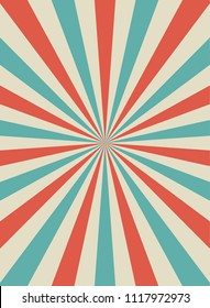 Sunlight retro narrow vertical background. Pale red, blue, beige color burst background. Fantasy Vector illustration. Magic Sun beam ray pattern background. Old paper starburst. Circus style