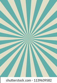 Sunlight retro narrow vertical background. Pale blue and beige color burst background. Fantasy Vector illustration. Magic Sun beam ray pattern background. Old paper starburst. Circus style
