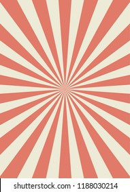 Sunlight retro narrow vertical background. Pale red and beige color burst background. Fantasy Vector illustration. Magic Sun beam ray pattern background. Old paper starburst. Circus style