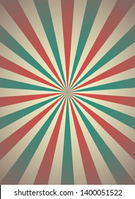 Sunlight retro narrow vertical background. Pale red, blue, beige color burst background. Fantasy Vector illustration. Magic Sun beam ray pattern background. Old paper starburst. Circus poster