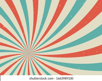 Sunlight retro spiral grunge background. Blue, red and beige color burst wallpaper. Vector illustration. Sun beam swirl ray backdrop. Old speckled paper. Vintage circus cposter or placard