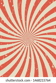 Sunlight retro vertical grunge background. red and beige color burst wallpaper. Vector illustration. Sun beam ray backdrop. Old speckled paper with particles of debris. vintage circus poster