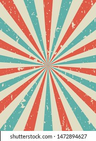 Sunlight retro vertical grunge background. red and blue color burst backdrop. Vector illustration. Sun beam ray wallpaper. Old speckled paper with particles of debris. vintage circus poster or placard