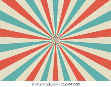 Sunlight retro wide horizontal background. Pale red, blue, beige color burst background. Fantasy Vector illustration. Magic Sun beam ray pattern background. Old paper starburst. Circus style