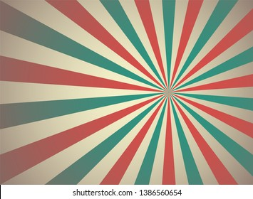 Sunlight retro wide horizontal background. Pale red, blue, beige color burst background. Fantasy Vector illustration. Magic Sun beam ray pattern background. Old paper starburst. Circus poster