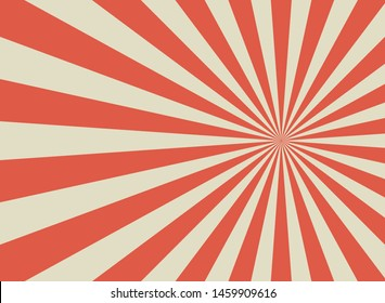 Sunlight retro wide horizontal background. Pale red and beige color burst background. Fantasy Vector illustration. Magic Sun beam ray pattern background. Old paper starburst. Circus style