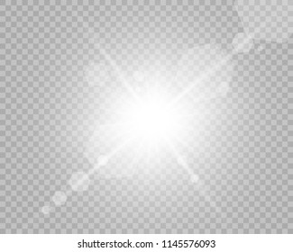 Sunlight, special lens flare, light effect. Sun flash with rays and spotlight. illustration.