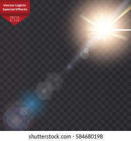Sunlight, special lens flare. Sun flash with rays and spotlight. illustration.