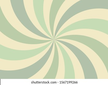 Sunlight spiral wide background. faded green and beige color burst background. Vector illustration. Sun beam ray sunburst pattern background. Retro circus backdrop.