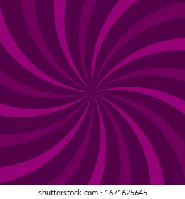 Sunlight swirl rays background.  purple and violet spiral burst wallpaper. Vector illustration. Sun beam ray sunburst poster. Retro circus or carnival placard