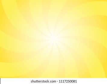 Sunlight swirling wide background. Bright yellow color burst background. Vector illustration. Sun beam ray sunburst pattern background. Retro bright backdrop.