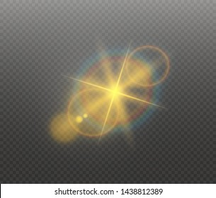 Sunlight a translucent special design of the light effect. Vector blur in the light of radiance. Isolated sunlight transparent background. Element of decor. Horizontal rays of light.