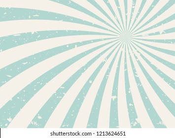 Sunlight wide spiral grunge background. green and beige retro background. Vector horizontal illustration. Sun beam ray background. Old speckled paper with particles of debris. vintage circus poster