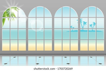 sunlight at windows of the bungalow on the beach in the summer