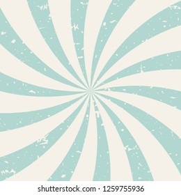 Sunlightspiral grunge background. powder blue and beige retro background. Vector horizontal illustration. Sun beam ray background. Old speckled paper with particles of debris. vintage circus poster