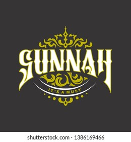 sunnah lettering design with drawing